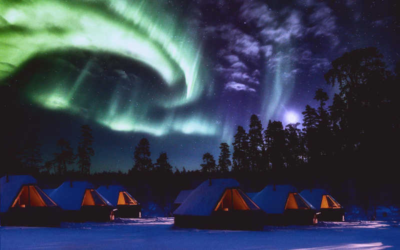 villa de auroras boreales en laponia