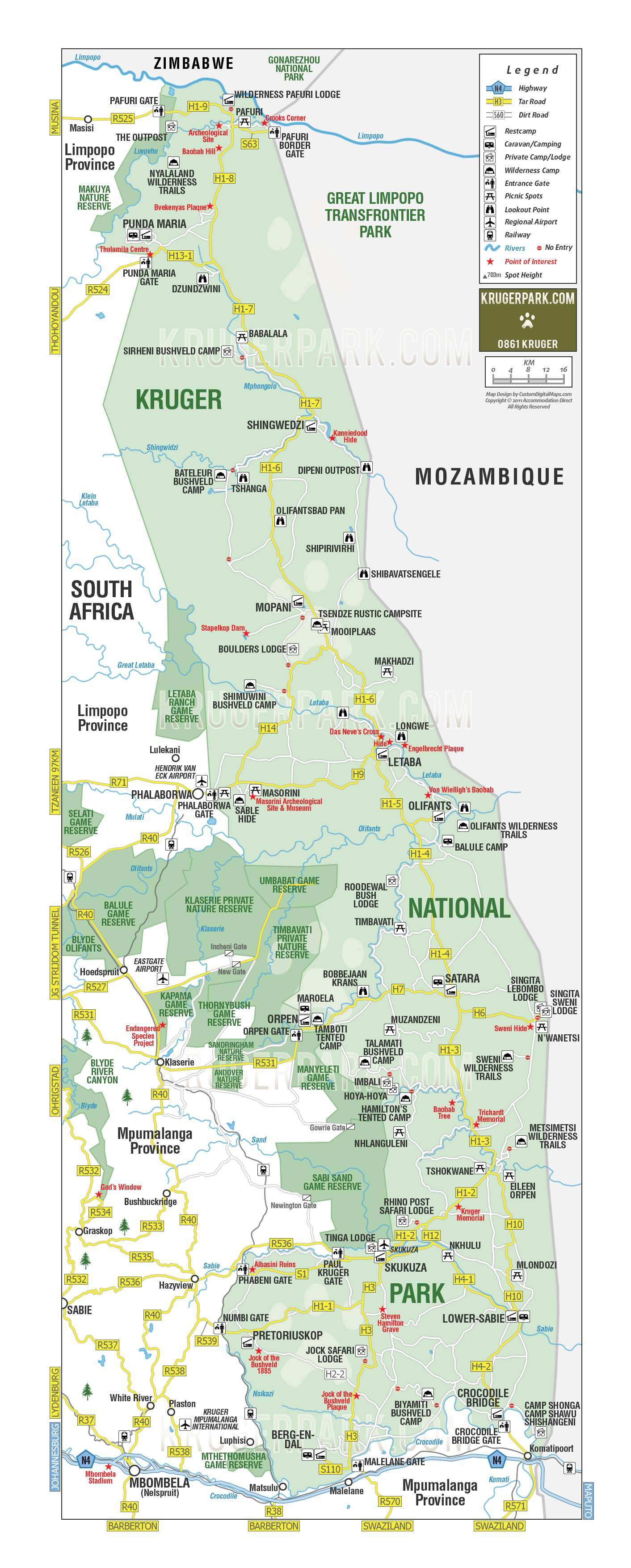 kruger national park map
